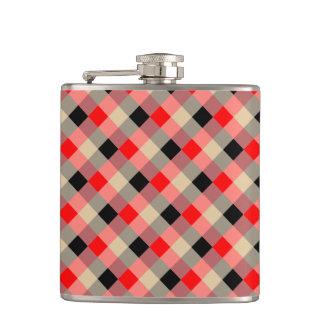 Designer plaid / gingham  pattern red and beige flasks
