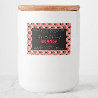 Designer plaid / gingham  pattern red and beige food label