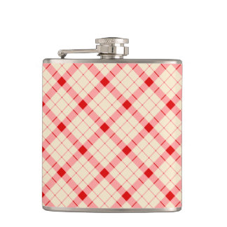 Designer plaid / gingham  pattern red and beige hip flask