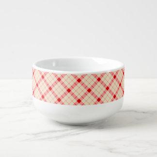 Designer plaid / gingham  pattern red and beige soup mug