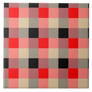 Designer plaid / gingham  pattern red and beige tile