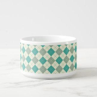 Designer plaid pattern green and beige bowl