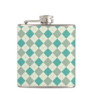 Designer plaid pattern green and beige flasks