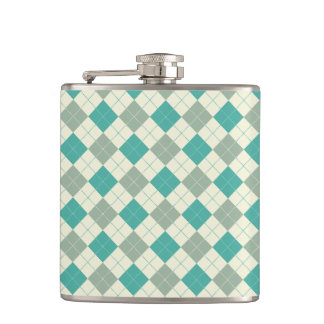 Designer plaid pattern green and beige hip flask