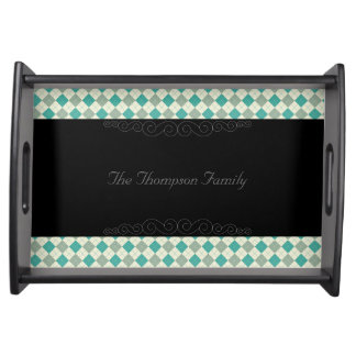 Designer plaid pattern green and beige serving tray