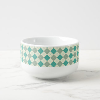 Designer plaid pattern green and beige soup bowl with handle
