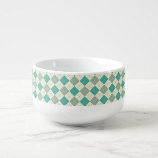 Designer plaid pattern green and beige soup mug