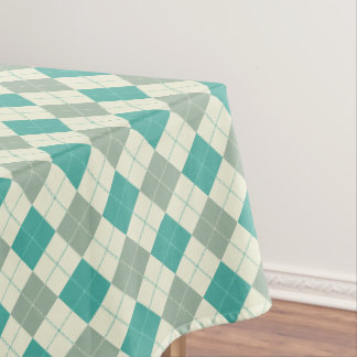 Designer plaid pattern green and beige tablecloth