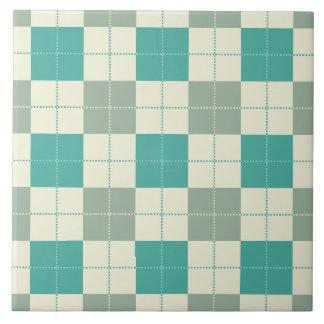 Designer plaid pattern green and beige tile