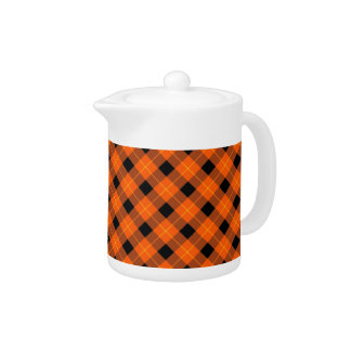 Designer plaid pattern orange and Black