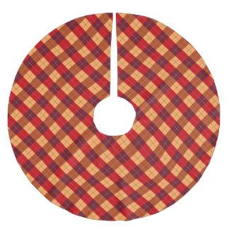 Designer plaid pattern orange and Black Brushed Polyester Tree Skirt