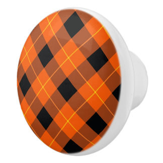 Designer plaid pattern orange and Black Ceramic Knob