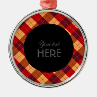 Designer plaid pattern orange and Black Metal Ornament