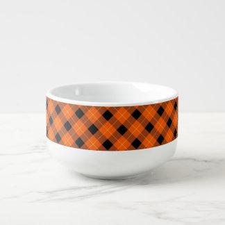 Designer plaid pattern orange and Black Soup Mug