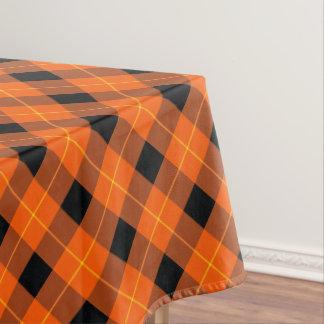 Designer plaid pattern orange and Black Tablecloth