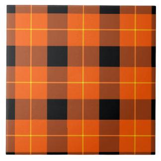 Designer plaid pattern orange and Black Tile