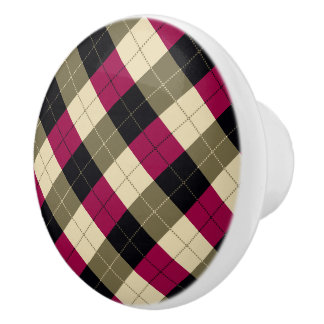 Designer plaid pattern purple, green and Black Ceramic Knob