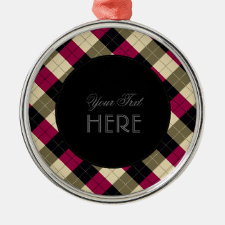Designer plaid pattern purple, green and Black Metal Ornament