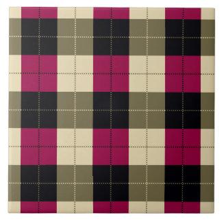 Designer plaid pattern purple, green and Black Tile
