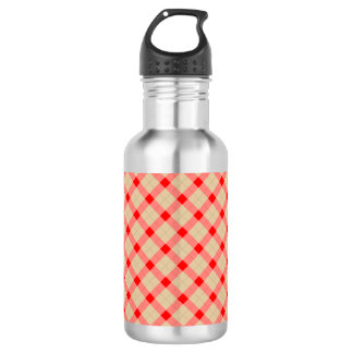 Designer plaid pattern red and beige 532 ml water bottle