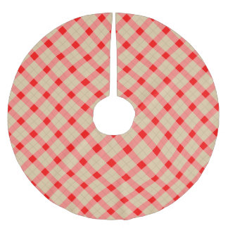 Designer plaid pattern red and beige brushed polyester tree skirt
