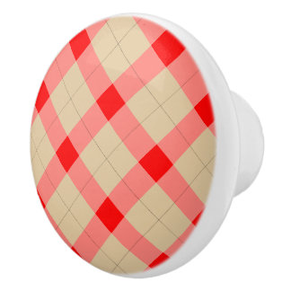 Designer plaid pattern red and beige ceramic knob
