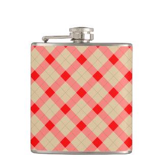 Designer plaid pattern red and beige flask