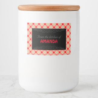 Designer plaid pattern red and beige food label