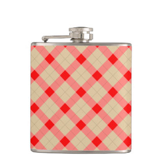 Designer plaid pattern red and beige hip flask