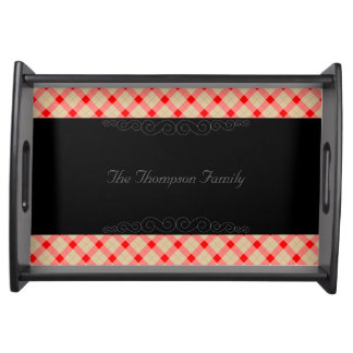 Designer plaid pattern red and beige serving tray