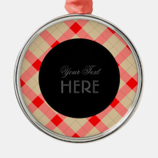 Designer plaid pattern red and beige Silver-Colored round ornament