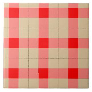 Designer plaid pattern red and beige tile