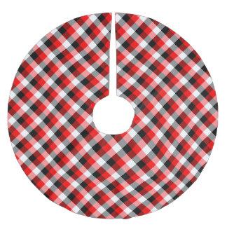 Designer plaid pattern red and Black Brushed Polyester Tree Skirt