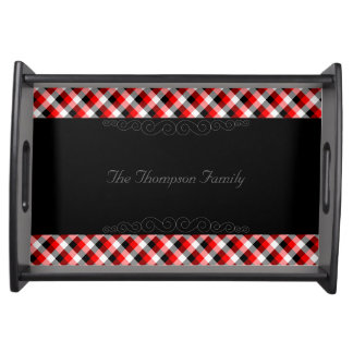 Designer plaid pattern red and Black Serving Tray