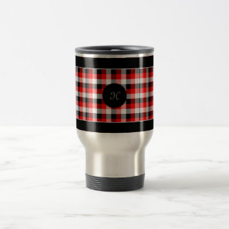 Designer plaid pattern red and Black Travel Mug