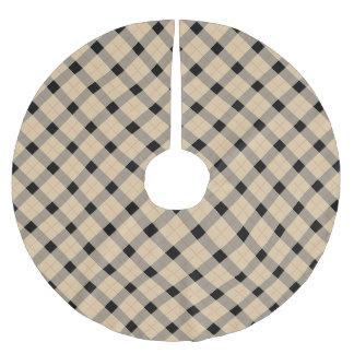 Designer plaid /tartan pattern beige and Black Brushed Polyester Tree Skirt