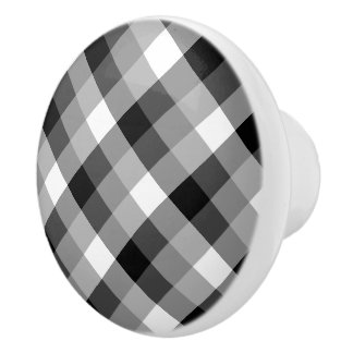 Designer plaid /tartan pattern beige and Black Ceramic Knob