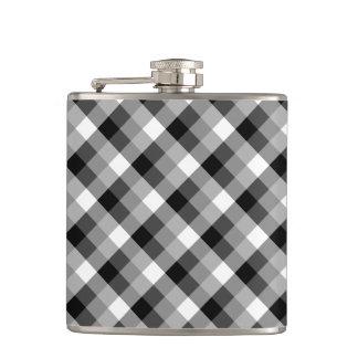 Designer plaid /tartan pattern beige and Black Flask