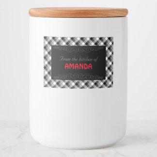 Designer plaid /tartan pattern beige and Black Food Label