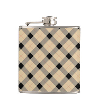 Designer plaid /tartan pattern beige and Black Hip Flask