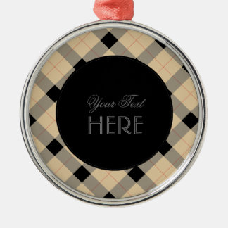 Designer plaid /tartan pattern beige and Black Silver-Colored Round Ornament