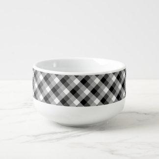 Designer plaid /tartan pattern beige and Black Soup Mug