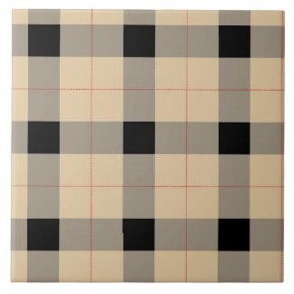 Designer plaid /tartan pattern beige and Black Tile