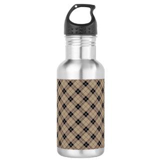 Designer plaid /tartan pattern brown and Black 532 Ml Water Bottle