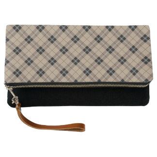 Designer plaid /tartan pattern brown and Black Clutch