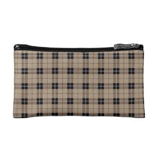 Designer plaid /tartan pattern brown and Black Cosmetic Bag