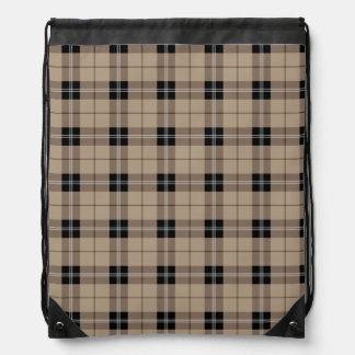 Designer plaid /tartan pattern brown and Black Drawstring Bag