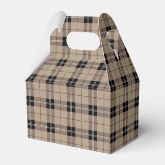 Designer plaid /tartan pattern brown and Black Favor Box