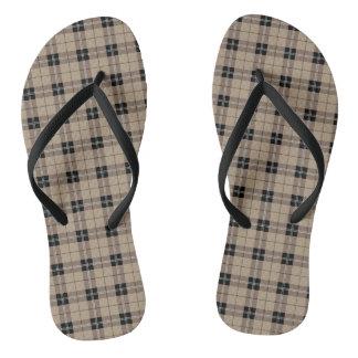 Designer plaid /tartan pattern brown and Black Flip Flops