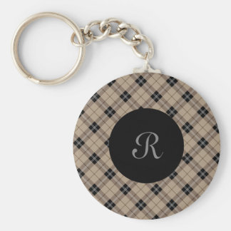 Designer plaid /tartan pattern brown and Black Keychain
